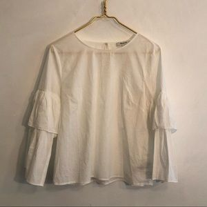 [Madewell] White Long Sleeve Blouse - Size Medium